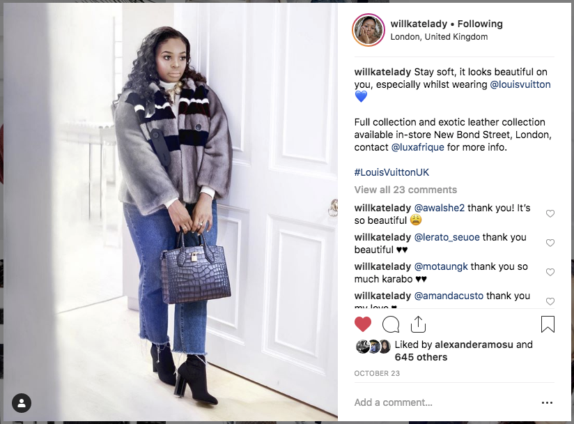 Influencer partnership with Louis Vuitton